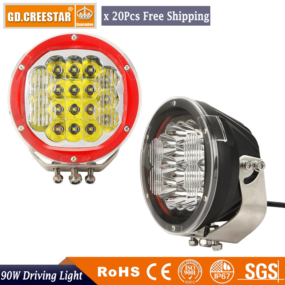 90W 7 Inch Round LED Work Light for Indicators Offroad Boat Car Tractor Truck 4x4 SUV ATV Black led Off Road lights x20pcs 7inch 90w red black led spot driving work light for atv 4x4 boat off road head light truck car 4wd suv led offroad ligh x1pc