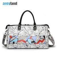 Aresland Waterproof Printing Pattern Gym Bag Big Size Travel Handbag Fashion Unisex Messenger Bag Women Man