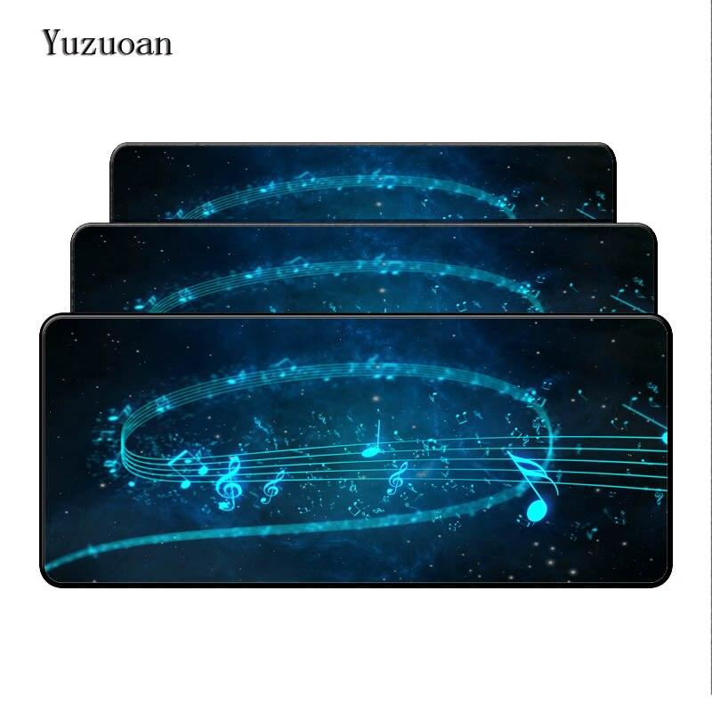 Yuzuoan Large Soft Desktop Pad Mousepads Optical Computer Mouse Mat Blue sheet music Background Durable Anti-slip Lock Edge Pad