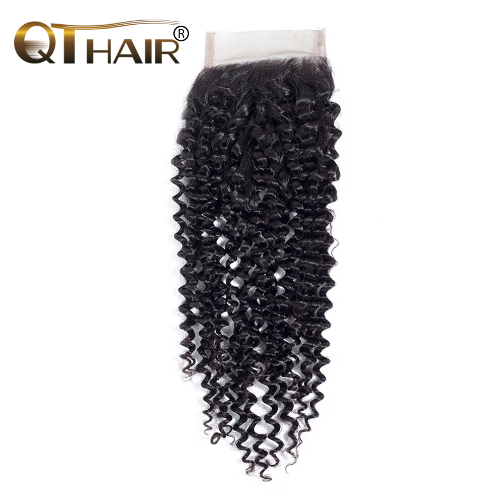 QThair Brazilian Kinky Curly Closure Free Part Remy Human Hair Closure 120% Density 8″-20″ Natural Color 1 Piece