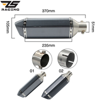 ZS Racing Akrapovic Motorcycle Exhaust Muffler Pipe Slotted Escape Moto With db killer For GY6 nmax msx125 crf 230 gsr 600