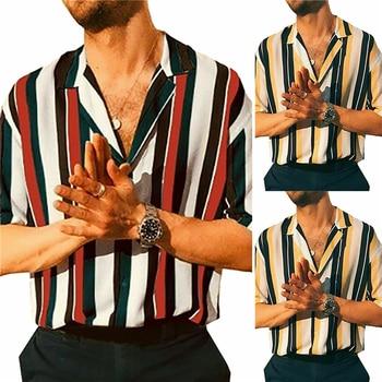 New Men Hawaiian Shirts Summer Striped Short Sleeve Casual Loose Blouse Male Slim Fitness Tops Shirt Camisa Masculina