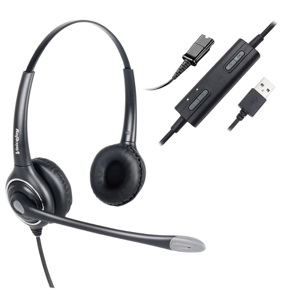 USB Plug Headset in line Controls with noise cancelling for Conference Calls Softphone Conversation Clear Chat
