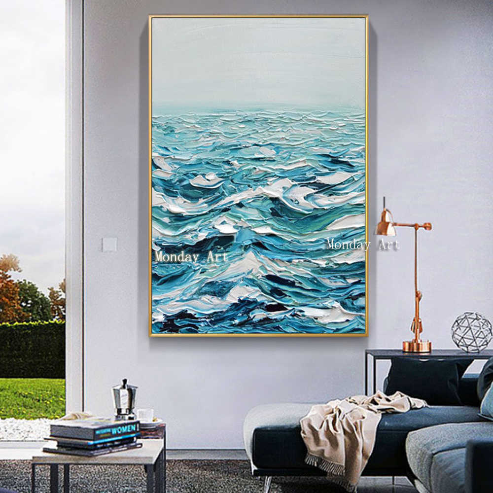 Large High Quality handmade Knife Oil Painting Handpainted Abstract Modern Canvas painting Home Decor Sea View Palette Picture