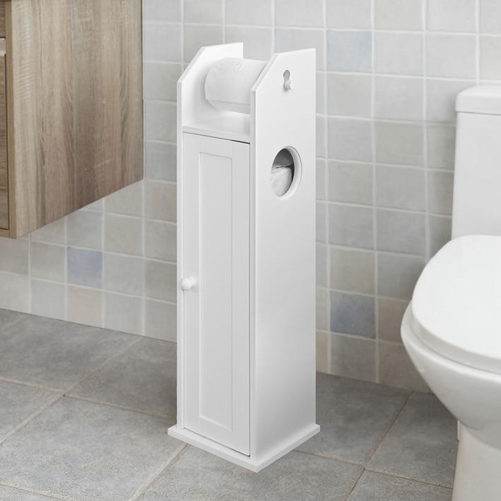 SoBuy/® FRG270-W Meuble de Rangement Salle de Bain Support Papier Toilette Meuble WC pour Papier Toilette Porte Brosse WC
