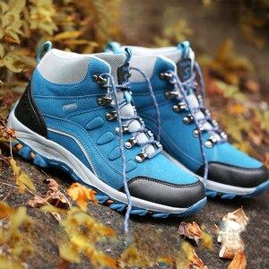 Image 4 - Mannen Vrouwen Wandelen Trekking Laarzen Hoge Top Tactische Laarzen Jacht Klimmen Schoenen Waterdichte Outdoor Sport Schoenen Mannen Nubuck Pluche