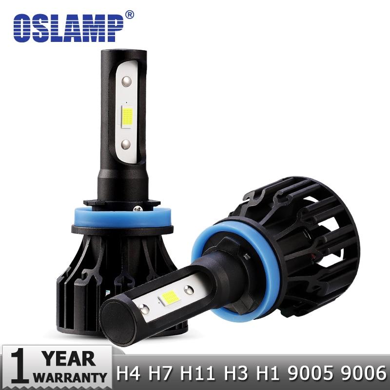 Oslamp 72W COB Chips H4 H7 LED Bombillas de faros de automóviles H11 H1 H3 9005 9006 Hi-Lo Beam 8000lm 6500K Faros automáticos LED Luz DC12v 24v