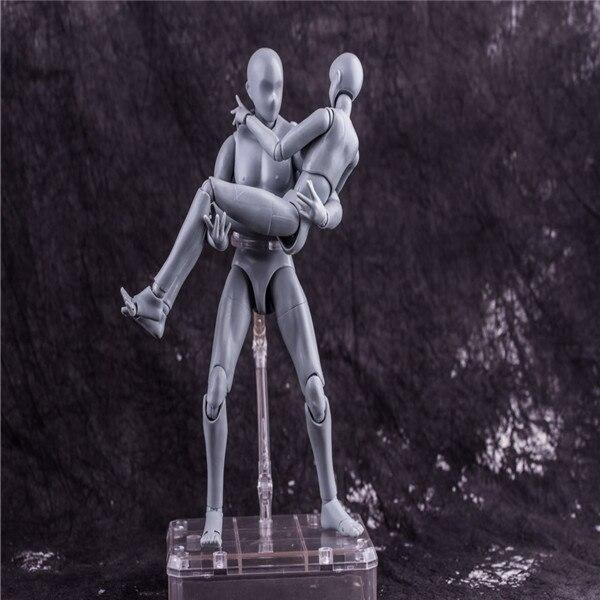27 CM 1 ensemble figurine anime japonaise argent figma homme/femme corps mobile avec arme figurine action jouets de collection