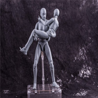 27CM 1set Japanese anime figure silver figma man/woman body movable with weapon action figure collectible model toys