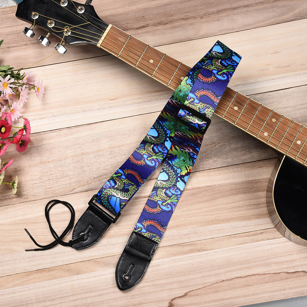 High Quality Hot Sale Guitar Straps Personalized Printing Dragon Pattern for Guitar Bass Electric Guitar Straps hot sale top quality white lp custom guitar with golden hardware electric guitar free shipping white color