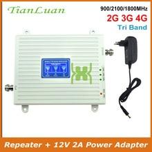 2G 3G 4G Tri טלפון נייד אותות בוסטרים GSM 900mhz LTE DCS 1800mhz W CDMA 2100mhz טלפון נייד אות מהדר עם כוח