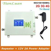2G 3G 4G Tri band Mobile Phone Signal Booster GSM 900mhz DCS 1800mhz LTE W CDMA 2100mhz Telefone Celular Repetidor de Sinal com o Poder