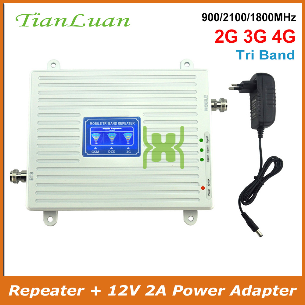 2G 3G 4G Tri Band Mobile Phone Signal Booster GSM 900mhz LTE DCS 1800mhz W-CDMA 2100mhz Cell Phone Signal Repeater With Power
