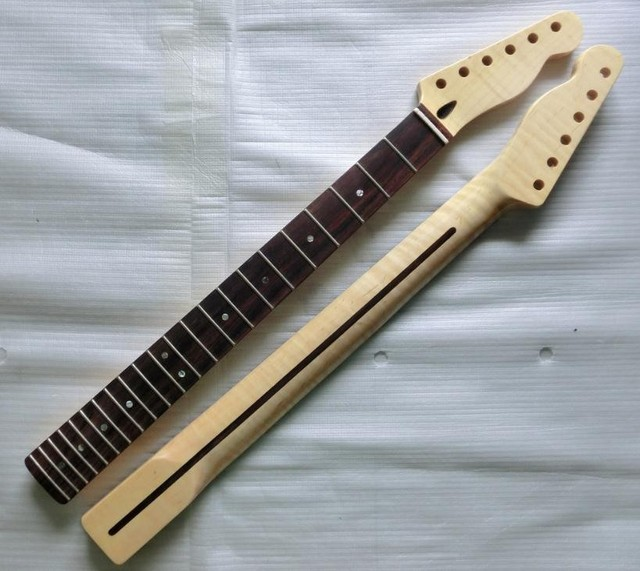 Cheap 22 Fret Tiger flame material maple Rosewood fingerboard Electric Guitar Neck Guitar Parts musical instruments accessories
