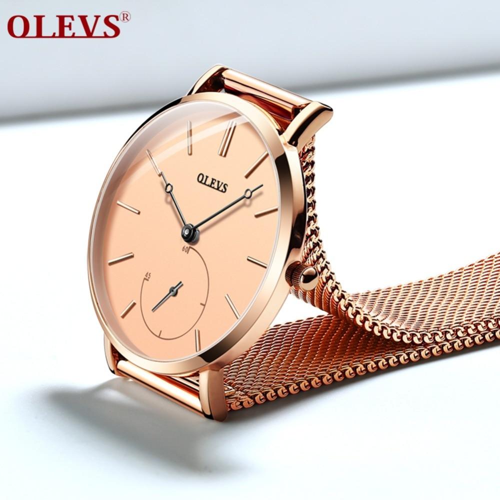 OLEVS Rose gold Wrist Watch Women Watches Luxury Brand Steel Ladies Quartz Women Watches 2018 Relogio Feminino Montre Femme