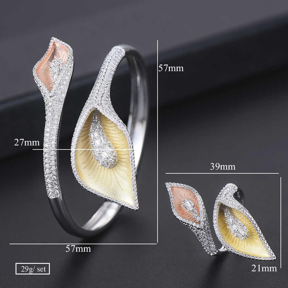 2 pcs เจ้าสาวสร้อยข้อมือปรับขนาดได้แหวนชุดเครื่องประดับ Calla Lily ดอกไม้ดูไบอินเดียสตรีอุปกรณ์เสริมหมั้น
