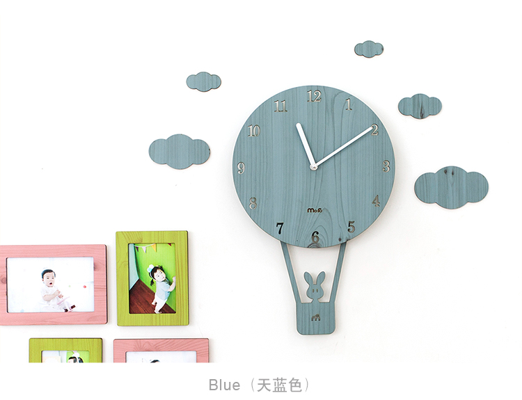 Home Living Room Bar Decor Children Gifts Wall Watches 4 Colors Pink Carton Kids Room Wall Clocks Unique Balloon Watches For