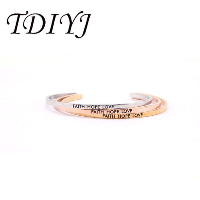 cff1a3828ba7b TDIYJ Stainless Steel Faith Hope Love Cuff Bracelets&Bangles Engraved  Bracelet For Women Jewelry 1pcs-in ID Bracelets from Jewelry & Accessories  on ...