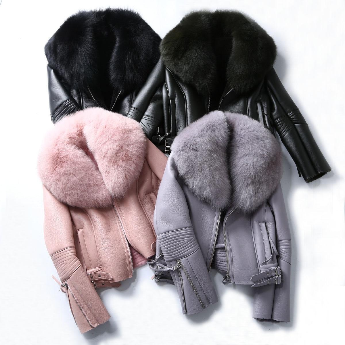 Image 2 - Oftbuy 2020 casaco de pele real casaco de inverno feminino natural gola de pele de raposa forro de lã real pu couro falso grosso quente streetwearPele verdadeira   -