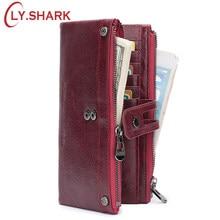 211933ff88896f SHARK Rote Brieftasche Frauen Leder Echtes Lange Damen Geldbörse Münze Walet  Geld Tasche Weibliche