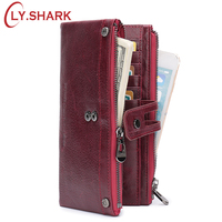 LY.SHARK Red Wallet Women Leather Genuine Long Ladies Purse Coin Walet Money Bag Female Clutch Phone Wallet Credit Card Holder