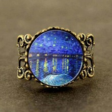 Charm Van Gogh Art Ring, Starry Night Over The Rhone, Silver and Glass Ring steampunk
