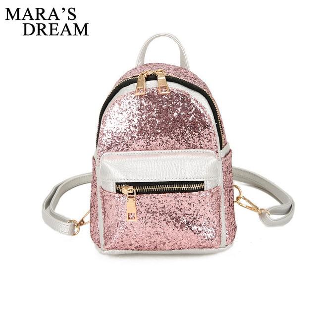 Mara s Dream 2018 Women s Backpacks Sequins PU Leather Backpack Children Mini  Bag fashion Small Back Pack for Teenage Girls cc588e41493d7