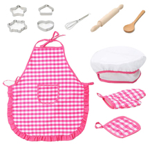Kids Cooking And Baking Set - 11Pcs Kitchen Costume Role Play Kits Apron Hat Funny Toy For Children