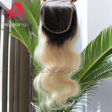 Bra-zilian hu-man hair body wave ombre lace closures bleach knots #1B#613 dark roots blonde closure Free/Middle/Three part