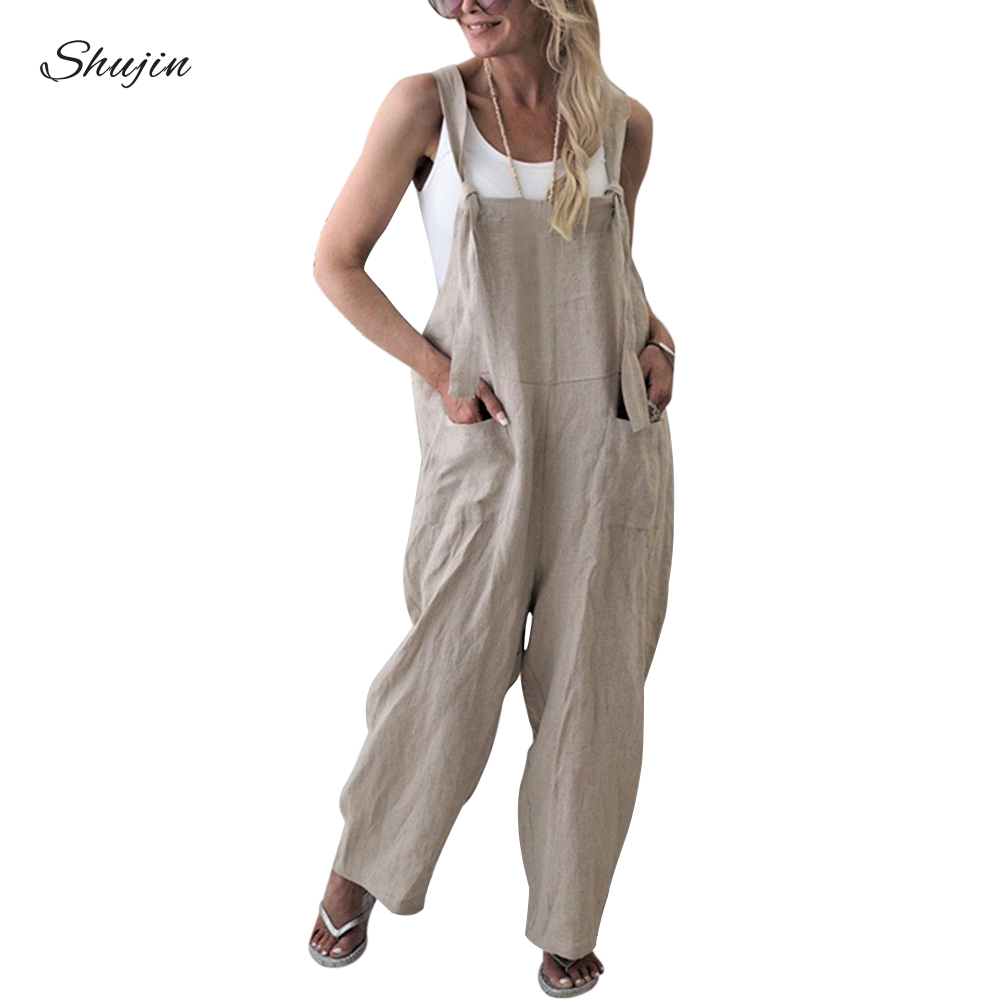 SHUJIN 2019 Fashion Women Solid Dungarees   Jumpsuit   Spring Casual Sleeveless Trousers Strap Baggy Harem Sport Loose   Jumpsuits