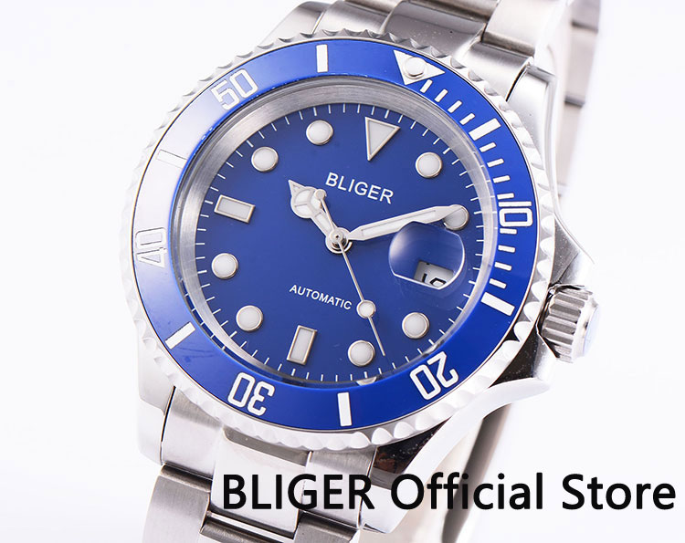 BLIGER Sapphire Glass 40mm Blue Dial Luminous Ceramic Bezel Date Magnifier MIYOTA Automatic Movement Men s