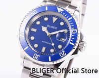 BLIGER サファイアガラス 40 ミリメートルブルーダイヤル発光セラミック日拡大鏡御代田自動移動メンズ腕時計