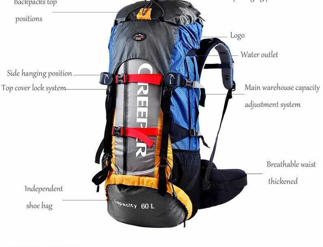 Creeper Free Shipping Professional Waterproof Rucksack External Frame Climbing Camping Hiking Backpack Mountaineering Bag 60L 2