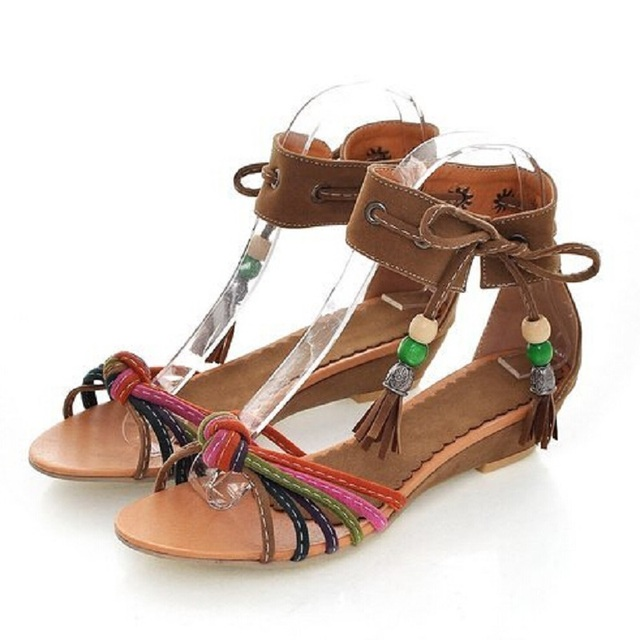 b2064e4273ba New Ethnic Tide Women Sandals Low Heel Wedges Summer Vogue Shoes Open Toe  Tassel Lace Up Bohemian Sandals For Women Size 11.5