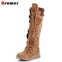 Asumer/лидер распродажа, модная обувь женские ботинки обувь на плоской подошве с округлым мысом на платформе зимняя обувь Уникальный стиль удобные ботинки до середины икры