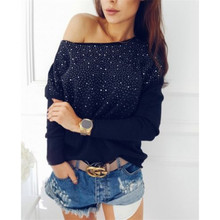 S-XL 2017 Spring New Fashion Women Hoodie Full Sleeve Round Neck Beaded Eagle Diamond Pullovers Computer Knitted Pageant