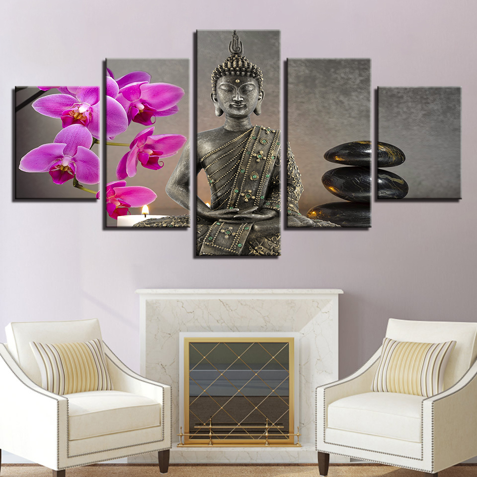 Modern Buddha With Flower Painting Wall Art 5 Pieces Moth Orchid Stone Candle Pictures Home Decor Canvas Print Artwork