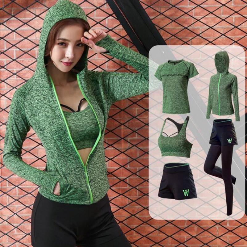 @1  женский костюм йоги талия брюки + шорты + сексуальный бюстгальтер + футболка + пальто женщины 5 комп ①