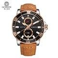 Ochstin cronógrafo marca de luxo casual relógios homens de quartzo esporte militar couro genuíno dos homens relógio de pulso relogio masculino