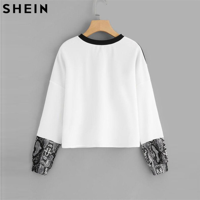 Color Block Snake Skin Sweatshirt Preppy Round Neck Long Sleeve Pullovers 1
