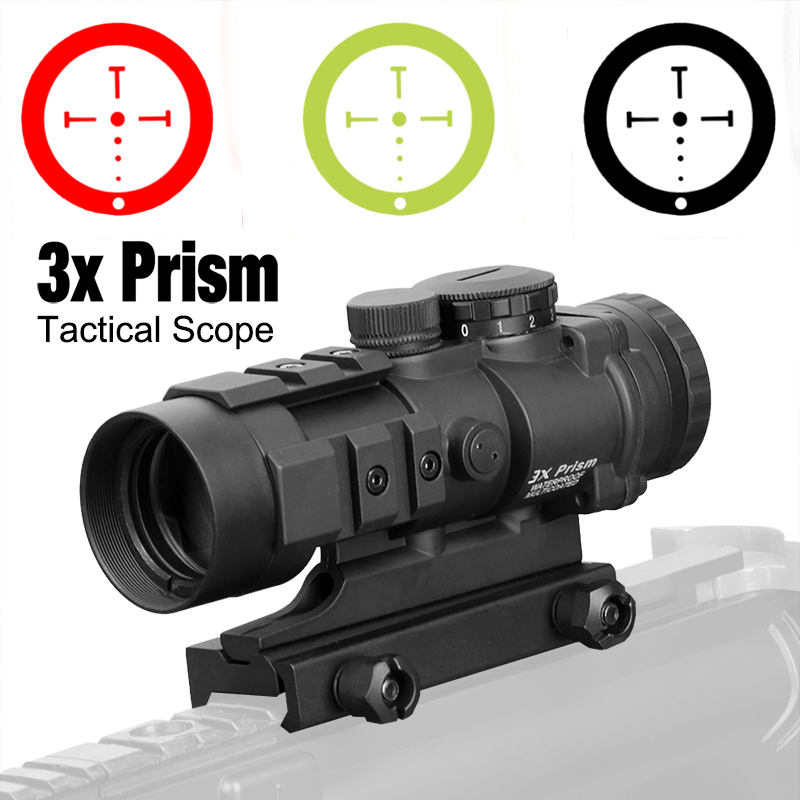 PPT 3X Hunting Scope 3x Prism Tactical Sight With Ballistic CQ Reticle HAMR 4x24 Riflescope Sniper Scope Airsoft Air Guns 1-0309