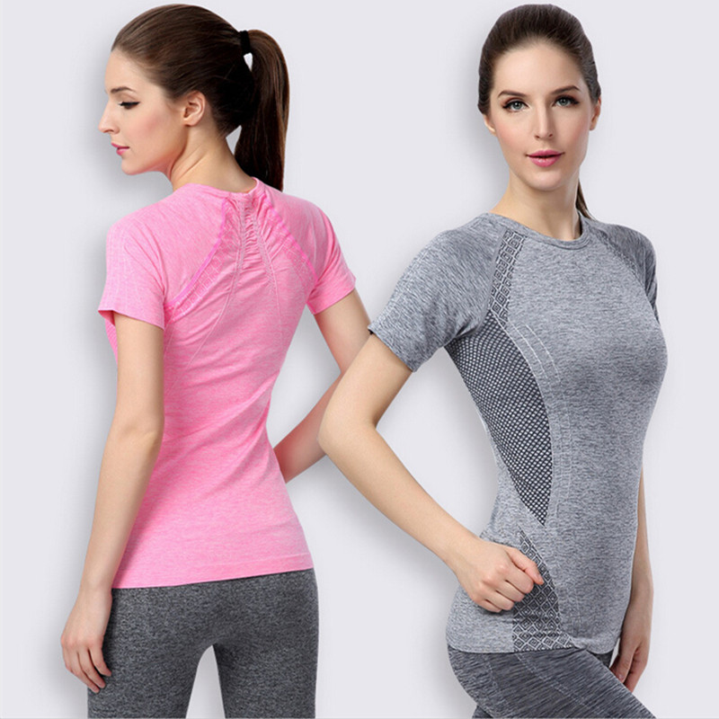e1c8c5985 Summer Women Tops Workout T-Shirts Exercising Tees Dry Quick Bodybuilding  Women Compression Yoga Trainning Sport T Shirts Tights