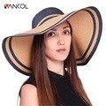 Vancol Straw Hat 2016 Sun Caps Sommerhut Elegant Foldable Wide Brim Blue BowKnot Big Floppy Summer Hat for Women Chapeau Femme