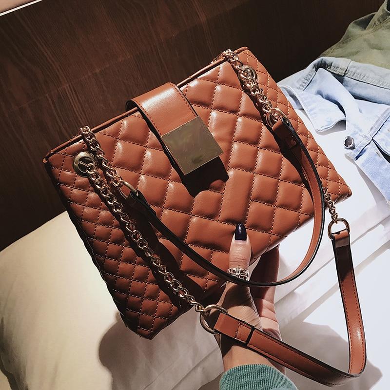 990cc706397c Diamond lattice handbags brand square hasp shoulder bags irregular grid  women handbag solid fashion two Chain shoulder strap bag