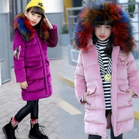Kids Down Jacket 2019 Children Winter Jacket for Girls Coat Russian Korean Parkas Fur Hooded Velvet Outerwear Teenage Snowwear