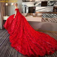 Luxury Dubai Ball Gown Wedding Dress 2019 Bride Dress Shining Beaded Crystal Long Red Bride Dress With Sequin Romantic Robe Roug