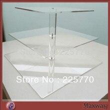Кристалл цена 3 яруса квадратный акриловый Кекс Стенд Свадебные украшения