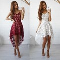 Boho People hippie Style Asymmetrical embroidery Sheer lace dresses double layered ruffled trimming low V-neck