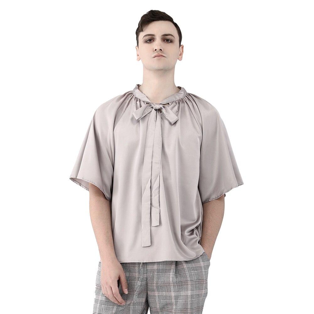 Винтажная мужская серая шифоновая блузка с галстуком Готическая летняя Свободная Повседневная рубашка с коротким рукавом