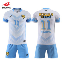 Zhouka Maker Custom  Soccer Jersey Sets For Men Sublimation Futbol Club Team Uniform Clothes Breathable Shirts Football